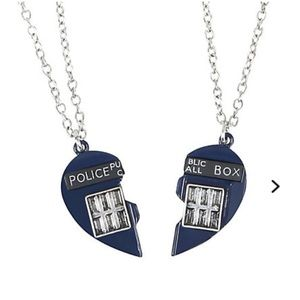 NWT Doctor Who: Matching Blue Heart Box Necklaces
